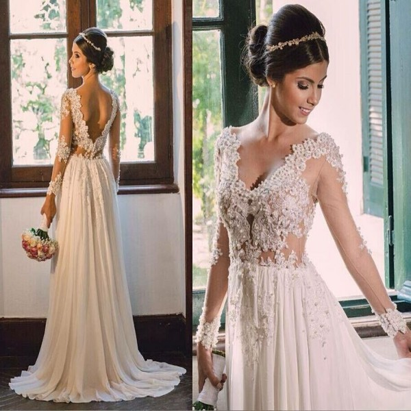 Online buy wholesale sexy bohemian wedding dress from for Long sleeve casual wedding dresses