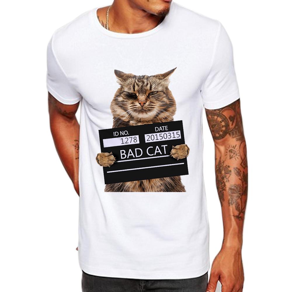 TEEHEART Men's Bad Cat women Dept Print   T  -  Shirt   Cool Cat   t     shirt   men summer White   T     shirt   hipster Tees la062