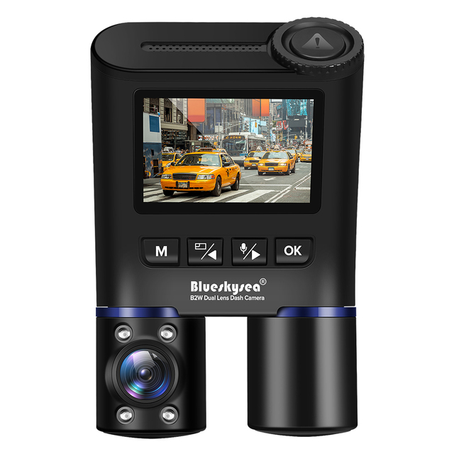 Blueskysea B2W Dual Lens WIFI DashCam for Uber Lyft Taxi Night Vision Car Camera Full HD1080P DVR Recorder Rear View Dash Camera