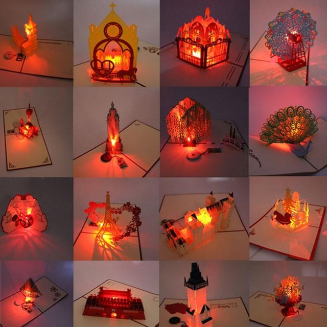 3d Laser Cut Pop Up Grusskarte Led Light Geburtstag Weihnachten Musik
