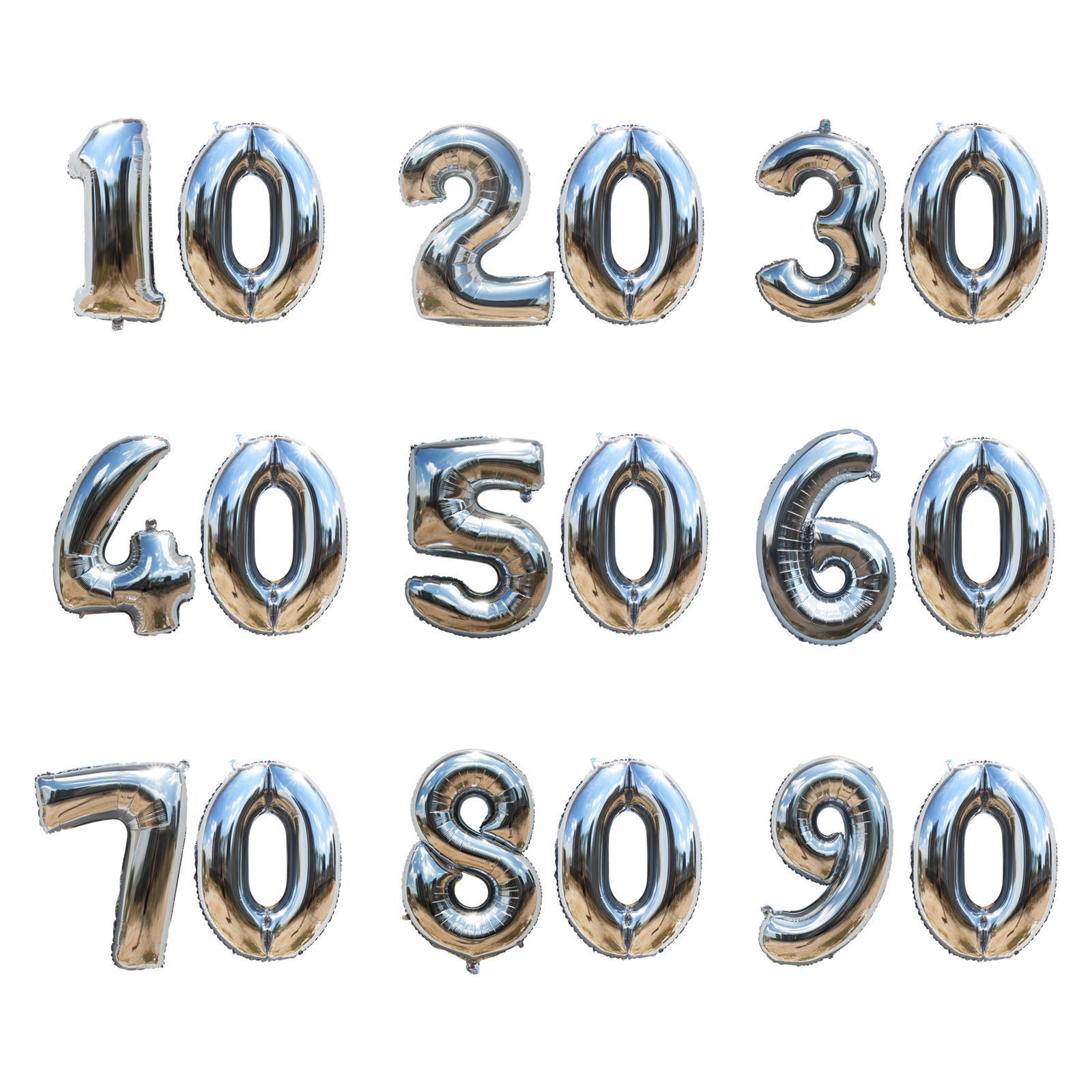 32inch Gold/Silver Number Aluminum Foil Balloons 10 20 30 40 50 60 <font><b>70</b></font> 80 90 Years Anniversary Day Balloons Party DIY <font><b>Decoration</b></font> image