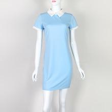 Summer Robe Women Turn-down Collar Short Sleeve Office Dresses Casual