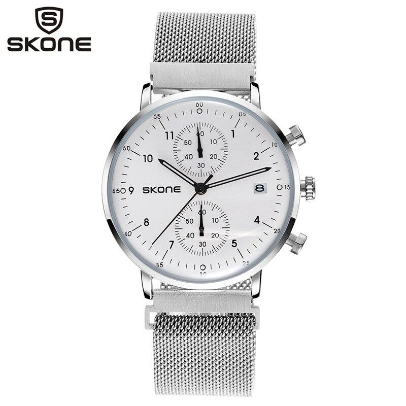 цена SKONE Quartz Mens Watches Stop Watch Mesh Stainless Steel Military Watch Man Auto Date Wristwatches Relogio Masculino 7421E