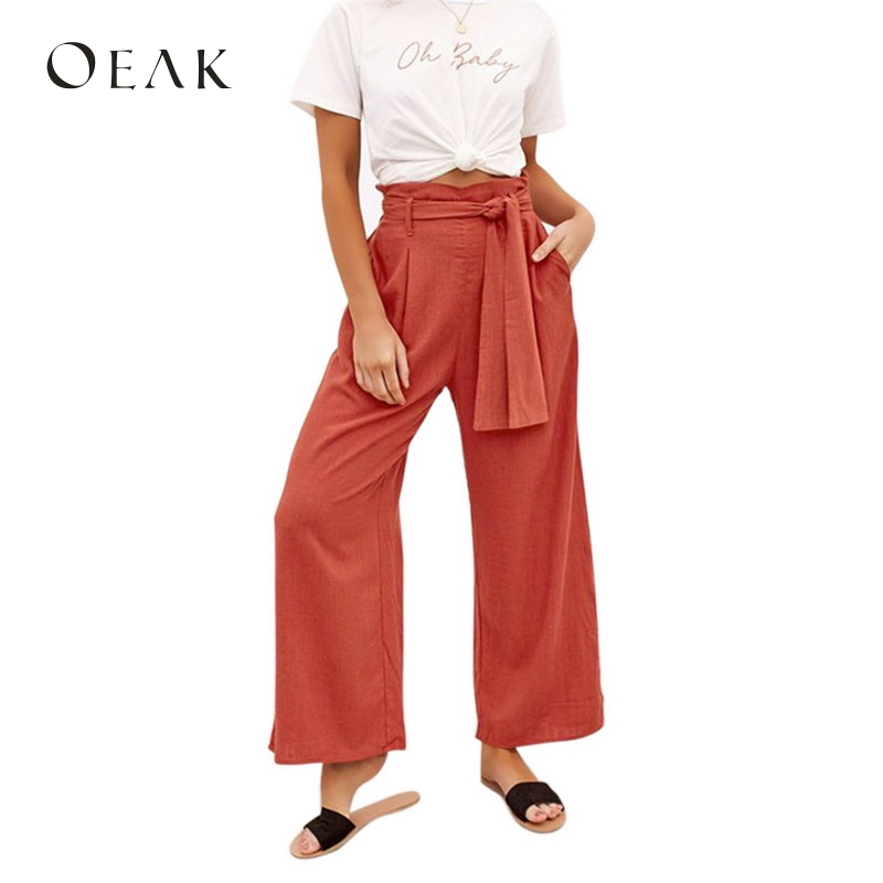 Oeak 2019 Summer Women   Wide     Leg     Pants   Solid Color Cotton High Waist Tie Front Casual Loose Trousers Long Palazzo   Pants   For Girl