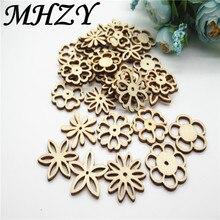 20/50 Pcs 30 Mm Natuurlijke Mix Type Opengewerkte Carving Bloem Patroon Hout Scrapbooking Handgemaakte Carft Voor Home Decoratie diy Q30
