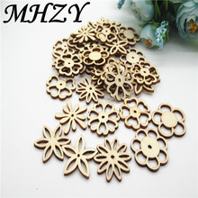 20/50pcs 30mm Natural mix type Openwork carving flower  pattern wood Scrapbooking Handmade Carft for Home decoration diy Q30