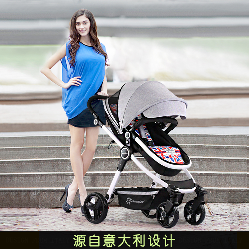 Sunshine children stroller high landscape two-way can sit and lie the shock of baby stroller foldable baby cart