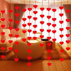 Image 5 - 5 مجموعات (80 قطعة) 2 حجم القلب جارلاند مع 3m حبل حلية لتقوم بها بنفسك الستار ورأى غير المنسوجة للمنزل حفل زفاف عيد الحب الديكور