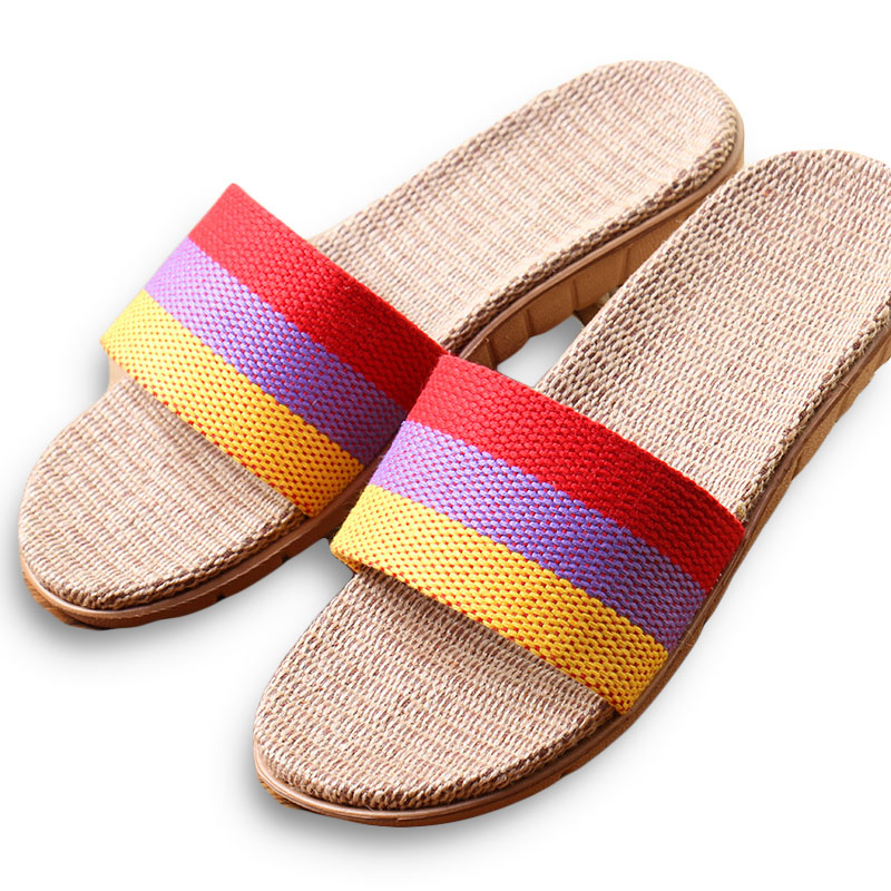 New Arrivals Summer Linen Women Slippers Brand Flat Non-Slip Breathable Stripe Hemp Basic Slides Home Sandals Charm Beach Shoes coolsa women s summer flat non slip linen slippers indoor breathable flip flops women s brand stripe flax slippers women slides