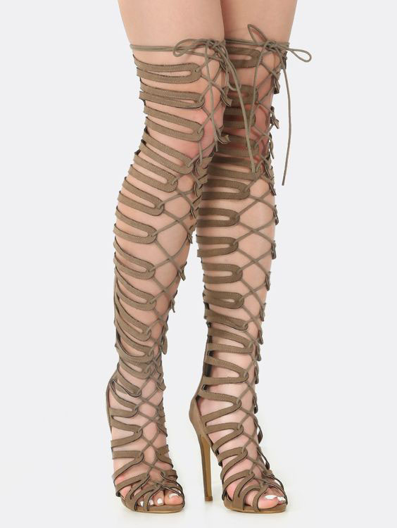 Fashion Party Club Summer Dress Shoes Women Zipper Detail High Heel Sandals Lace Up Thigh High Gladiator Strappy Sandal Boots