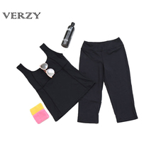 Yoga Set 2 piece set Women's Solid Vest+Seven cents pants Spoertswear Suit Fitness Breathable Female Nylon Capri Leggings+Vest
