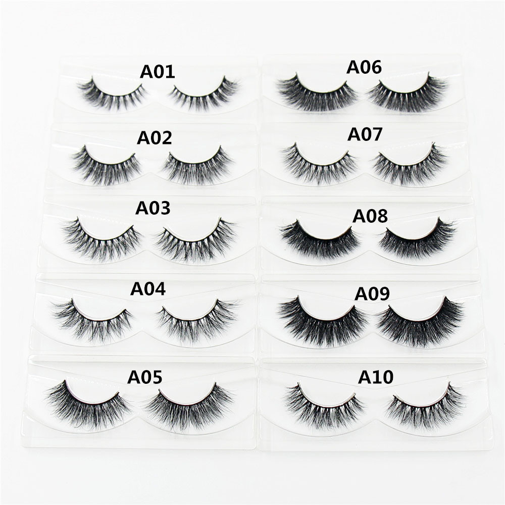 AMAOLASH 1 pereche 3D Mink Handmade manual Culori naturale naturale Long False Genele Machiaj fals Eye Lashes Extension A01-A19-D23