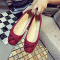 Flat shoes Woman embossed Leather women Flats shallow bowtie female loafers black red Large size cheap china women Casual Shoes