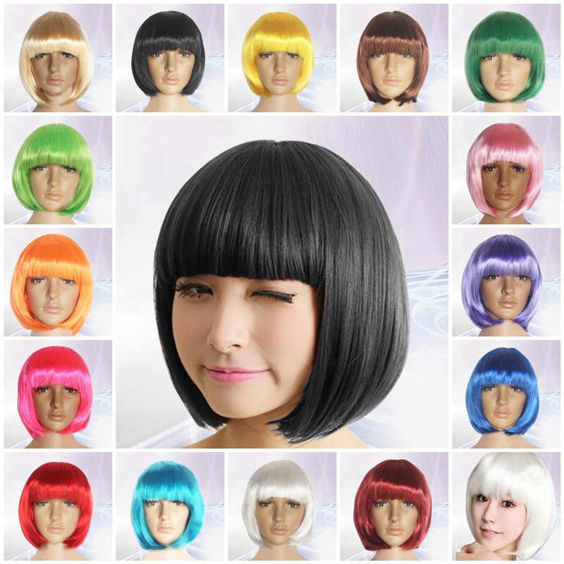 Women's Sexy Full Bangs Wig Short Wig Straight Hair Cosplay Holiday Party Dance prom Decoration