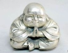 Chinese Old China tibet silver carved happy buddha figurine wholesale factory Arts outlets