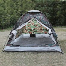 TOMSHOO 2 Person Camouflage Camping Tent Single Layer Polyester PU1000mm Beach Portable Hiking Outdoor