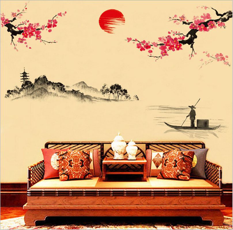 New Wall Paper Bird Flowers Chinese Style Wall Stickers Decal Art ...