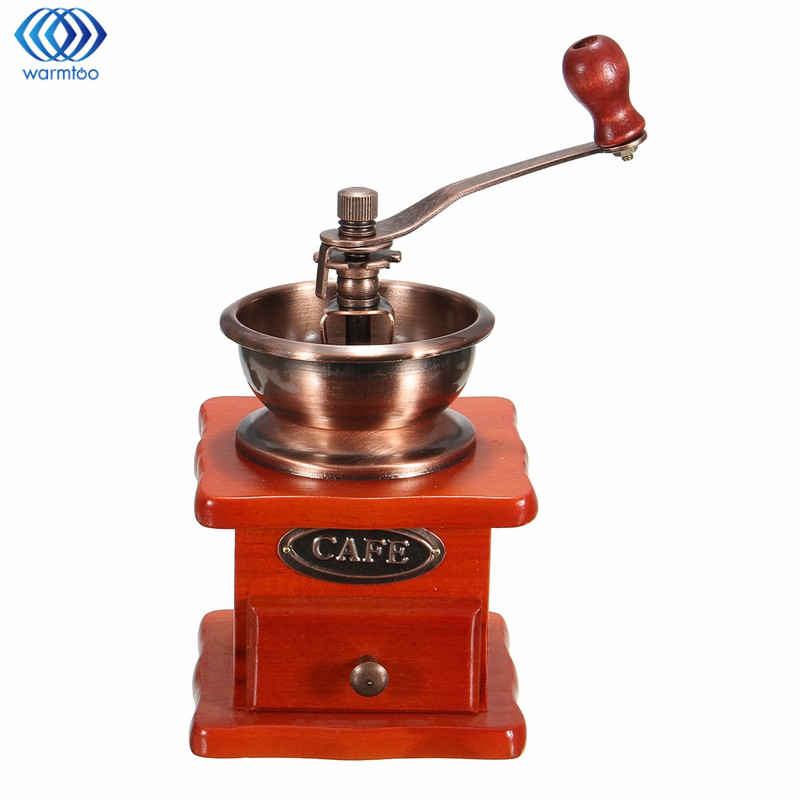 Mini Manual Coffee Grinder Woodiness Metal Retro Design Classical Conical Burr Tea Coffee Bean Milling Machine As a Gift Home grinders machine manual coffee machine household grinder mini grinder