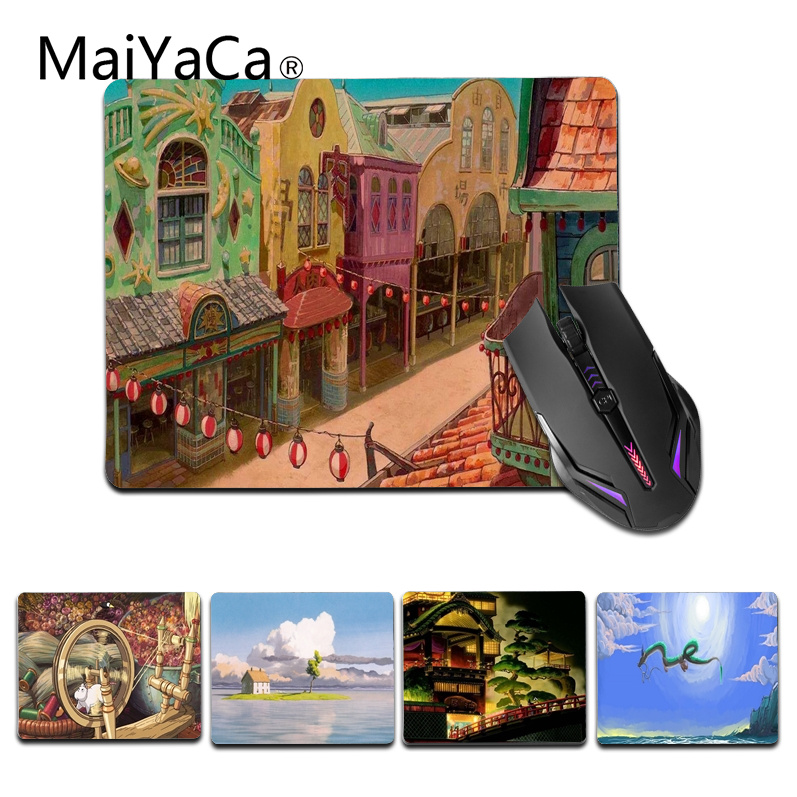 MaiYaCa New Printed Spirited Away Building Customized laptop Gaming small mouse pad Size for 25X29cm Silicon Mousemats