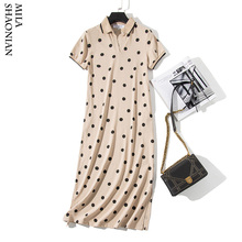 Summer Polo Collar Dot Print Woman T-shirt Dresses Plus Size Short Sleeve Cotton Black Apricot Long Dress Streetwear Maxi