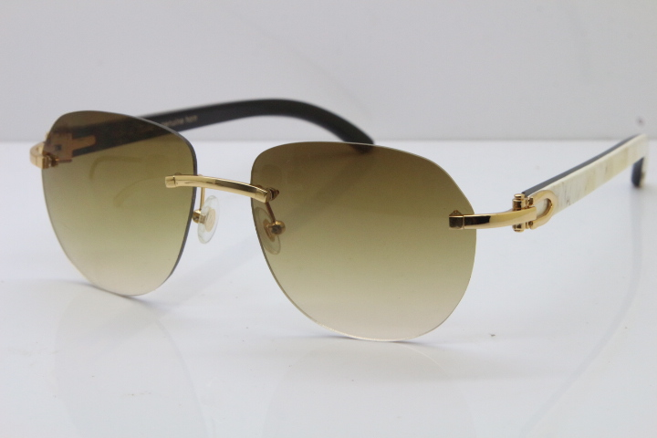 42ea4d5356d ... Cartier Rimless 8300729 Black Mix White Buffalo Horn Sunglasses In Gold  Brown Lens (1) ...