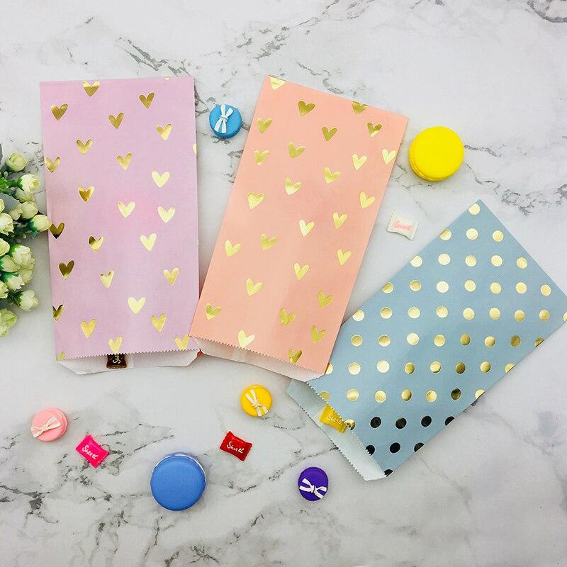 300pcs Candy Snack Paper Bags Foil Gold Heart Dot Flat Bags Event Party Favor Treat Blush