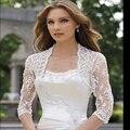 2016 New Sexy 3/4 Sleeves Lace Wedding Jacket/Bolero Bridal Accessory Appliques Edge Custom Made
