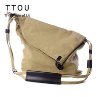Vintage Canvas Shoulder Bag European And American Style Casual Unisex Handbag Men Women Retro Large Capacity