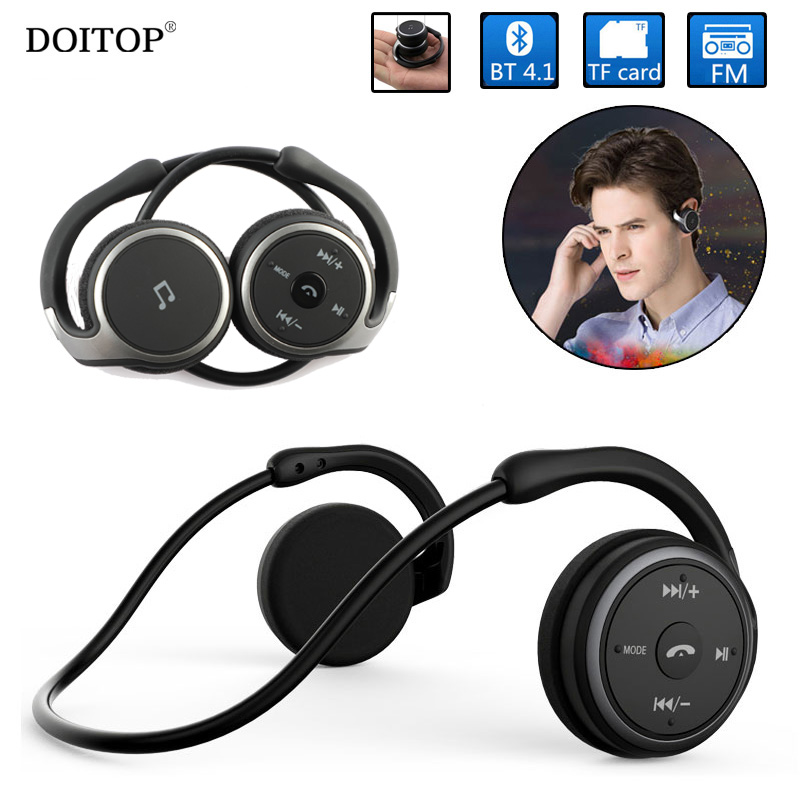 DOITOP Foldable Neckband Sport Bluetooth Earphones Wireless Hifi Music Headphone Comfortable Headset Support TF Card FM Radio O5 memteq cool on ear lcd foldable headset wireless headphone earphone with fm radio tf card sport mp3 player