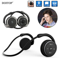 DOITOP Foldable Neckband Sport Bluetooth Earphones Wireless Hifi Music Headphone Comfortable Headset Support TF Card FM Radio O5