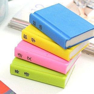 4pcs/lot Creative Korean Stationery Eraser Gomas De Borrar Books Style Gomme Kawaii Erasers For Kids Rubber Goma De Borrar 00620