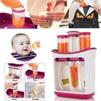 Infant Baby Feeding Food Squeeze Station Toddler Fruit Maker Dispenser Homemade Food-grade PP 3 Food Dispensors 10 Pouche#281642