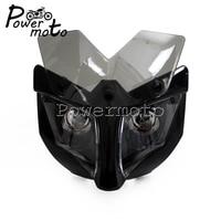 Black Motorcycle Streetfighter Naked Bike Dual Beam Headlight Head Lamp For Honda Yamaha Suzuki Kawasaki Eagle Fairing 35 54mm