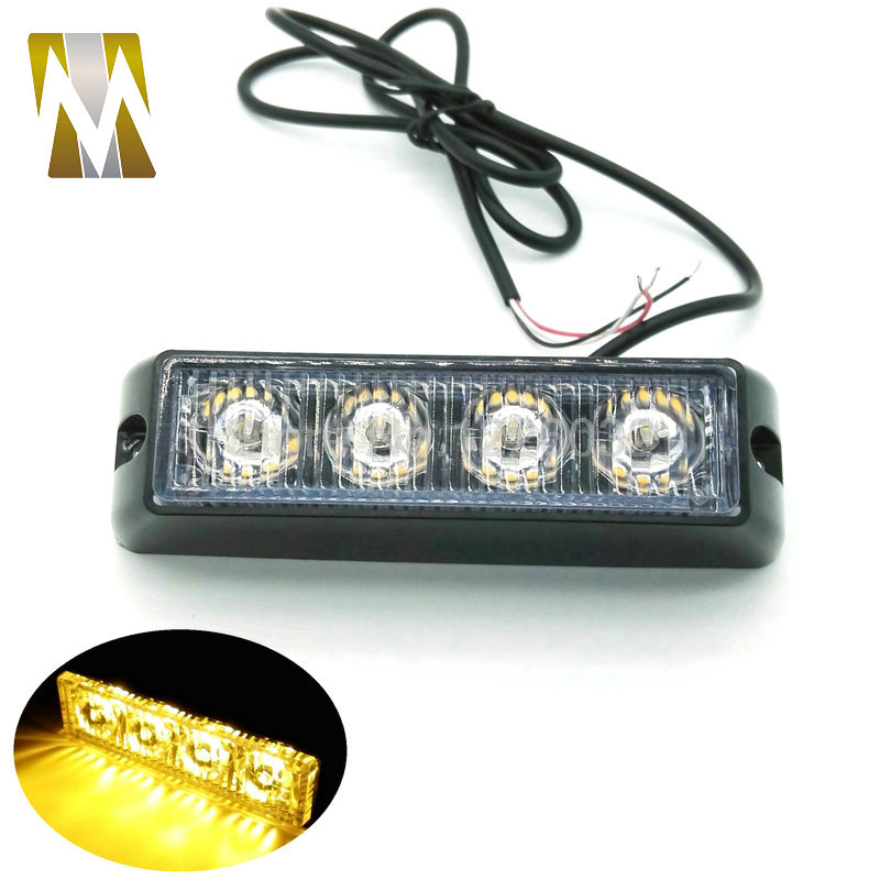 12V / 24V LED Mobil Darurat Beacon Light Bar 4W 12V dipimpin Strobe light 24V Universal untuk Hazard Truck Flashing Lamp