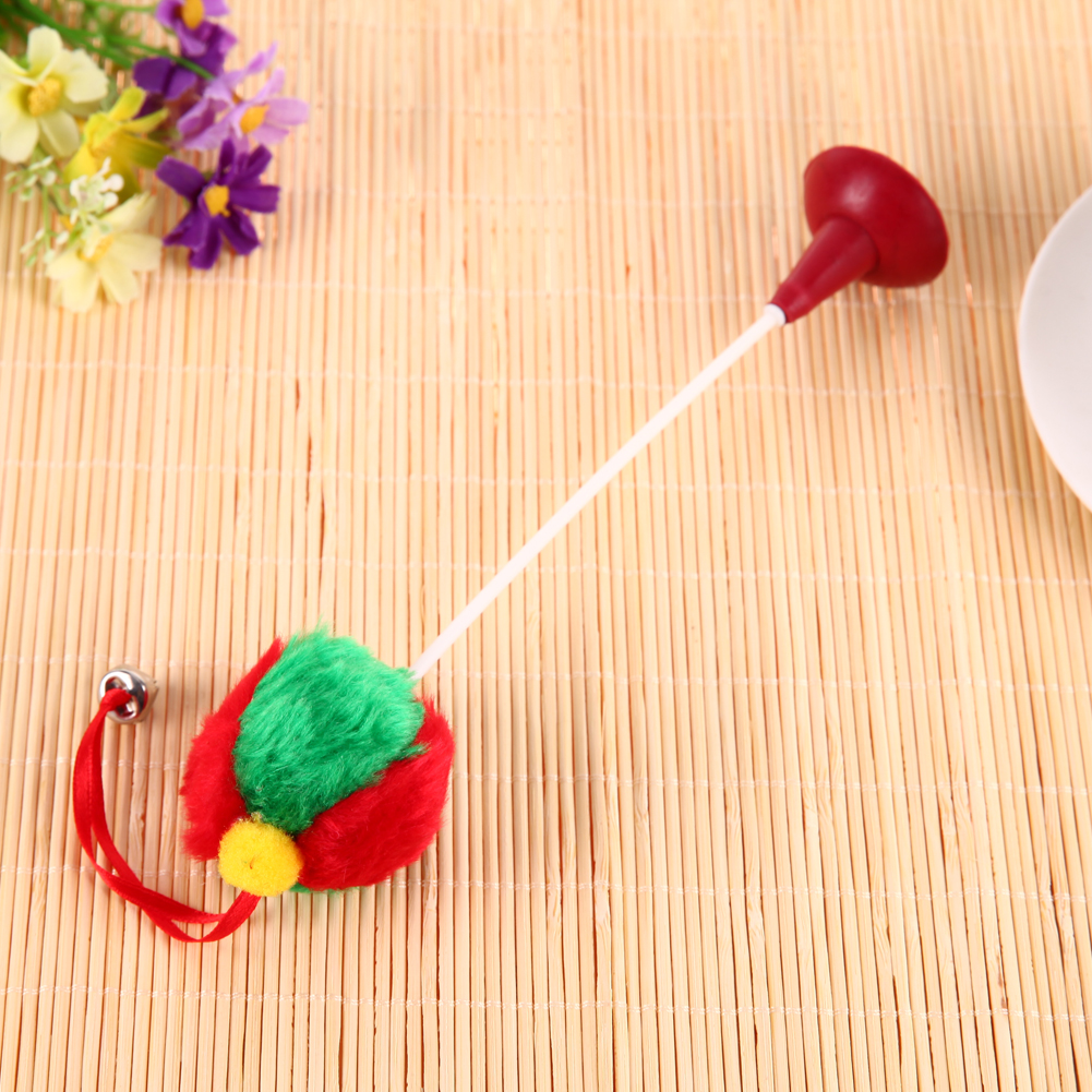 5Pcs/Set Funny Plush+ Plastic Ball Bottom Sucker Teaser Cat Toys Bell Feather Kitten Playing Toy Cats Interactive Supplies