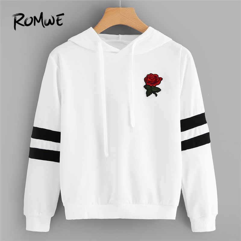 ROMWE White Rose Patched Striped Sleeve Drawstring Hoodie Women Clothes Autumn Casual Hooded Long Sleeve Sweatshirts Pullovers