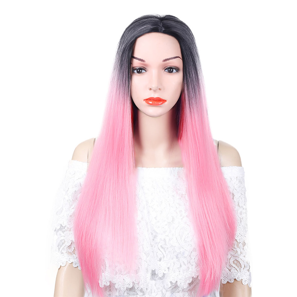 Pageup 26 Inch Long Straight Heat Resistant Wig Ombre Honey Blonde Synthetic Hair Wigs Pink Purple Blonde Wig For Women