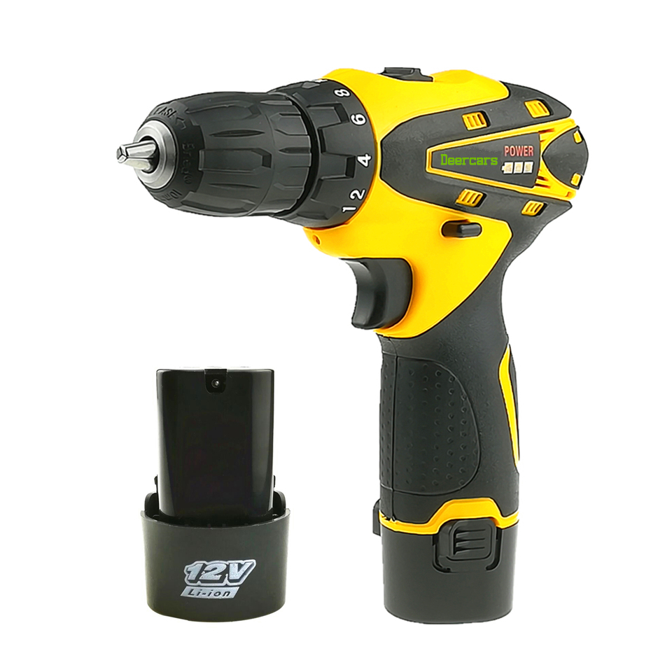 цена на 12 Volts Cordless Drill Screwdriver Rechargeable Mini Battery Electric Drill Two Lithium Battery Household Power Tools Carton