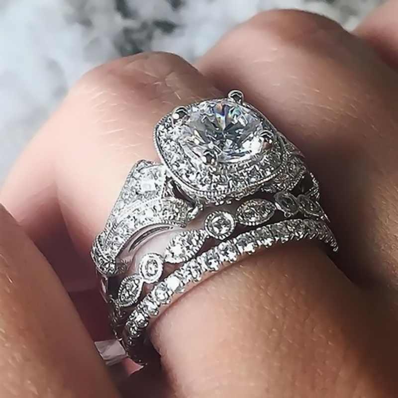 高級女性ビッグジルコン石リングセットかわいい 925 銀の結婚指輪女性のファッション愛の婚約指輪