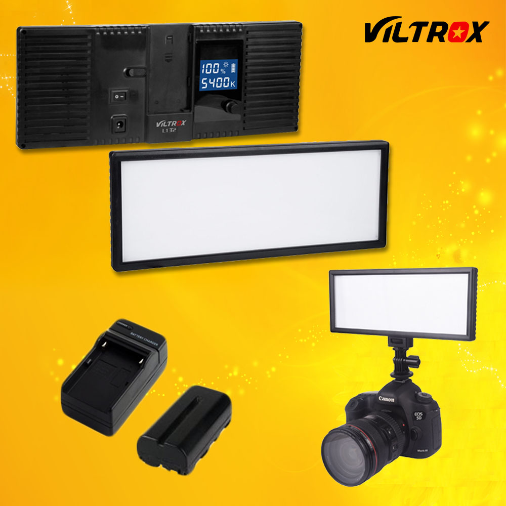 Viltrox L132T LCD displejs Bi-Color & Dimmable Slim DSLR video LED gaisma + akumulators + lādētājs Canon Nikon kameras DV videokamerai