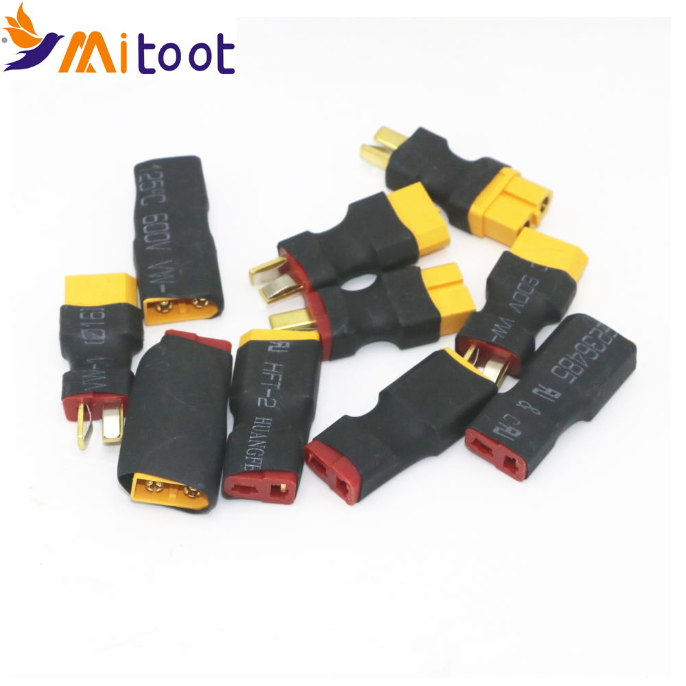 10pcs T Male Plug To XT60 Male / T Female Plug To XT60 Female Adapter For RC Helicopter Quadcopter LiPo Battery Plug Connector