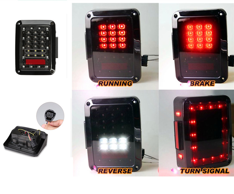 2x Wrangler JK LED Tail Lights Car Running Brake Turn Signal Reverse Back up Light Lamp 12V For 07~2015 EU / US Standard