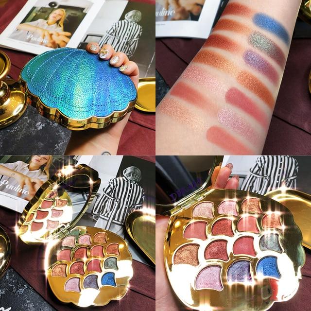 Nueva paleta de maquillaje de paleta de sombra de ojos de sirena de 14 colores