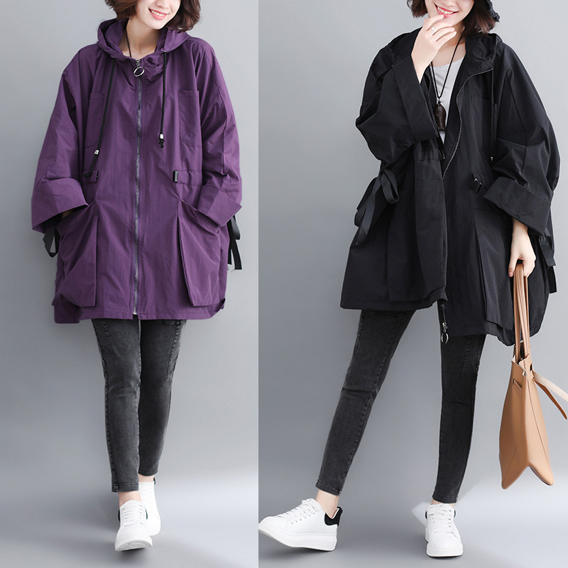 2020 New Plus Size Women's Spring Autumn Long Trench Coats Loose Large Pocket Hooded Windbreaker Coat Female Outerwear X301