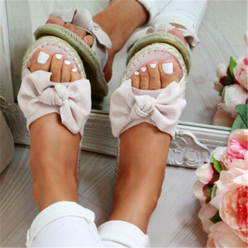 HEFLASHOR Slippers 2020 Summer Women Terlik Woman Slip On Sandals Bow Flat Hemp Linen Summer  Espadrille Shoes Chanclas De Mujer
