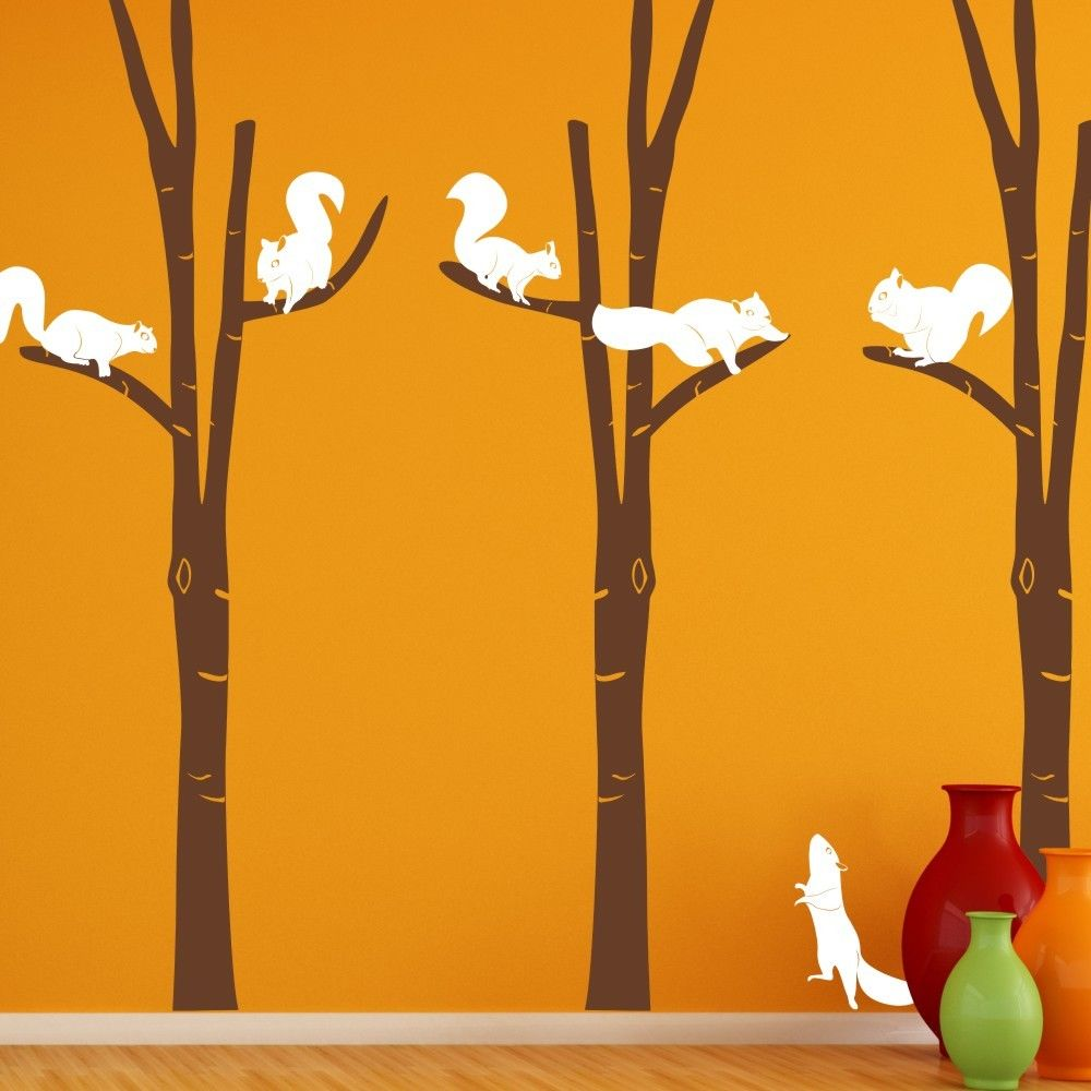 Wild birch forest with owls vinyl wall decal - Birch Trees Squirrel Wall Decal Forest Vinyl Baby Playroom Mural Removable Decor 100inx102in China