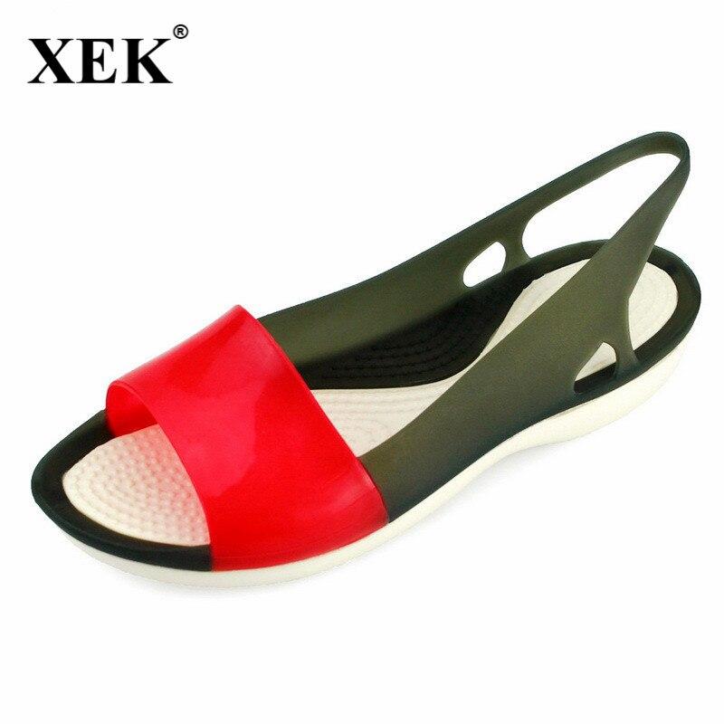 2018 Donne Sandali Colorati Scarpe Donna Peep Toe Stappy Spiaggia Arcobaleno Croc Gelatina Scarpe Da Donna Scarpe Estive Jdd103