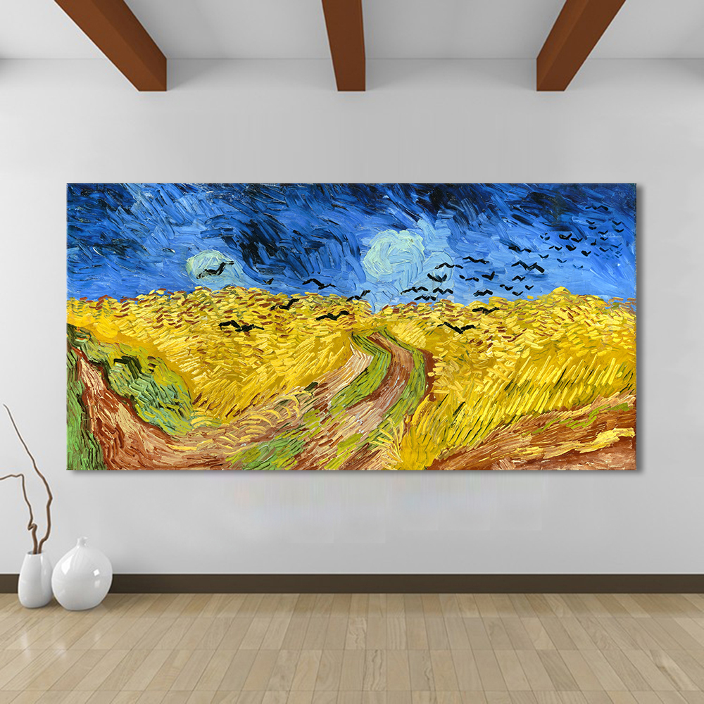 HDARTISAN Landscape Oil Painting Wheatfield With Crows Modern Canvas ...