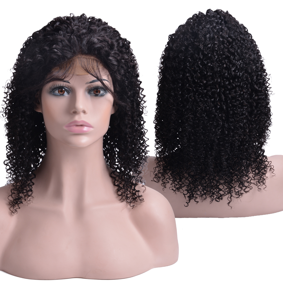 Indian Kinky Curly Lace Closure Wigs Pre Plucked With Baby Hair Remy Lace Closure Human Hair