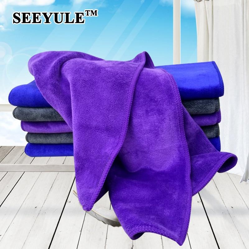 1pc SEEYULE 400gsm Microfiber Thicken Car Wash Towel Water Absorption Detailing Cleaning Cloth Dust Remove 30x70cm blue purple недорого